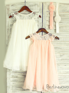 A-Line Jewel Pink Chiffon Flower Girl Dress with Flower