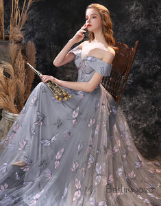 A-line Strap Grey Prom Dress Long Floor-Length Evening Dress