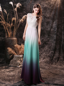 Modest Sleeveless  Ombre Mint Lace Wedding Dress