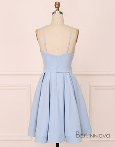 A-Line V-Neck Short Blue Satin Homecoming Dress with Appliques