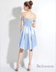 High Low Off-the-Shoulder Light Sky Blue Satin Homecoming Dress