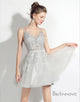 A-Line V-Neck Grey Homecoming Dress with Sash Appliques