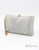 Silver Closure Chain Box Clutch with Tassels