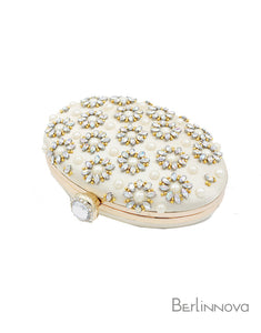 Champagne Oval Closure Clutch with Crystal