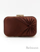 Brown Satin Closure Box Clutch Bag