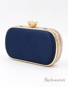 Blue Color Closure Beaded Box Clutch