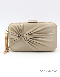 Champagne Color Closure Box Clutch with Tassels