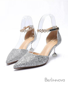 Silver Pointy Toe Strappy Pump Kitten Heels