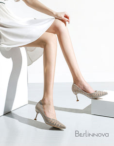 Silver Heel Chanel Style Dress Shoes