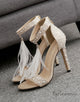 Beige Pearl Heels Sandals with Feather