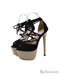Ultra-High Heel Ankle Strap Champagne Prom Shoes