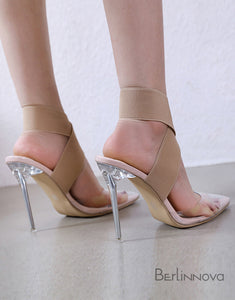 Simple Transparent High Heel Pointed Toe Party Shoes