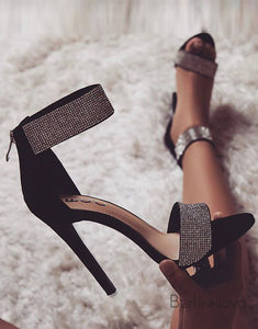 Open Toe Stiletto Black High Heels Sandals with Zipper