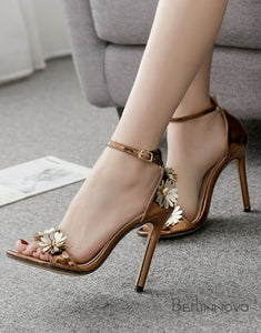 Ankle Strap Gold High Heels Sandals with Flower