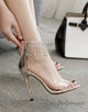 PVC Clear Ankle Strap Beige High Heels with Beading Tassel