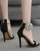 Black Two Part Stiletto Ankle Strap Heels