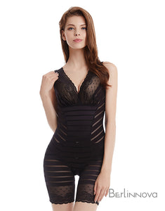 Black Spandex Zipper Bodysuits Shapewear with Sheer Lace