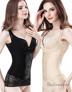 Black Nylon Zipper Bustier Shapewear