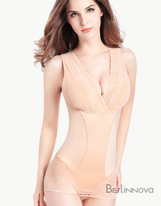 Black Zipper Bra Bugle Bodysuits Shapewear with Sleeves