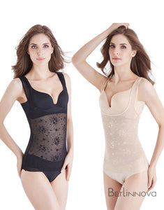 Black Nylon Bodysuits Shapewear with Sheer Lace