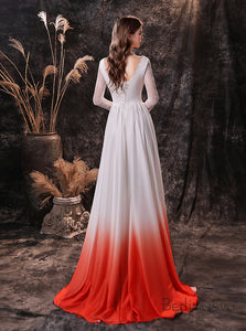 A-Line V-Neck Long Sleeve Ombre Red Lace Wedding Dress