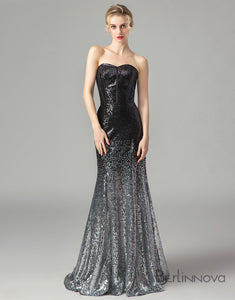 Backless Mermaid Prom Dress Sequin Long Evening Dress