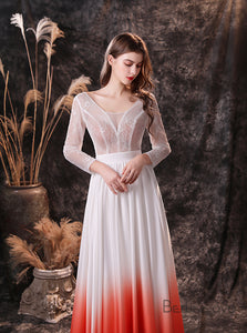 Open Back Long Sleeve Lace Ombre Wedding Dress