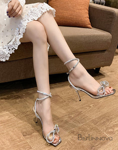 Bow Rhinestone High Heels