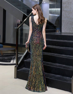Mermaid V-Neck Long Prom Dress Multi-Color Sequin Evening Dress