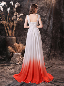 A-Line Long  Red and White Ombre Lace Wedding Dress