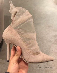Nude Color Mesh Lace Wedding Shoes High Heels