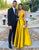 Deep V-Neck Long Prom Dress Satin Yellow Formal Dress with Belt
