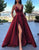 A Line V-Neck Burgundy Prom Dress With Legsplit
