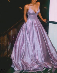 A Line Spaghetti Straps Long Prom Dress with Pockets