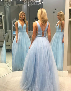 A-Line V-Neck Floor-Length Light Blue Prom Dress with Sequins Beading