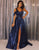 A-Line One-Shoulder Long Navy Blue Prom Dress with Split Evening Gowns