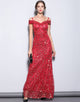 Long Red Mermaid Off-the-Shoulder Prom Dress with Sequins