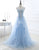 Off-the-Shoulder Backless Sky Blue Prom Dress with Appliques