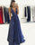 Simple Deep V-Neck Open Back Long Blue Prom Dress with Pockets