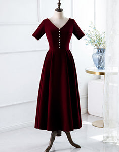 A-Line V-Neck Burgundy Wedding Party Dress