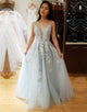 A-Line Long Appliques Light Blue Prom Dress