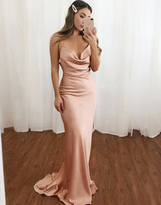 Simple Blush Long Prom Dress Mermaid Formal Dress