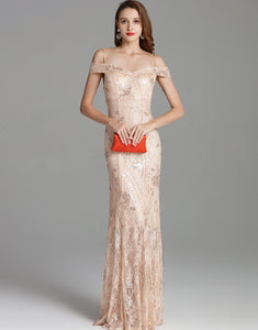 Champagne Mermaid Long Prom Dress with Sequins