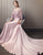 Pink A-Line V-Neck Satin Prom Dress with Appliques