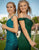 Off-the-Shoulder Green Prom Dress with Appliques Split Mermaid Party Dress