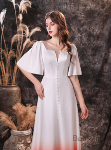 A-Line Round Neck Short Sleeve Satin Wedding Dress