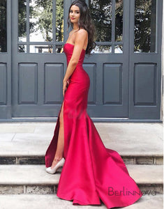 Strapless Mermaid Prom Dress Red Evening Dresses