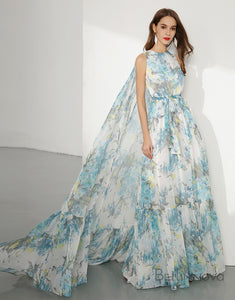 Floral Printed Chiffon Long Prom Dress Sleeveless For Formal Occasion