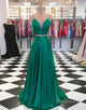 Two Pieces Satin Prom Dress Evening Dress