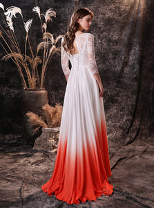 Simple Elegant Chiffon Ombre Lace Wedding Dress with Sleeves